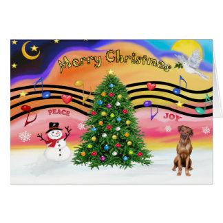 Cartão Música 2 do Natal - Rhodesian Ridgeback