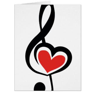 Cartão Música do amor do Clef da ilustração