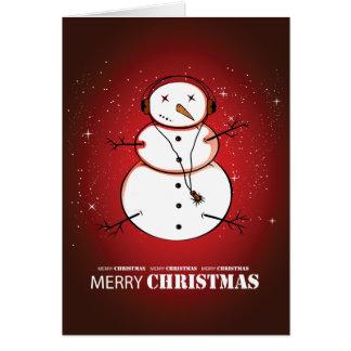 Cartão Música do boneco de neve do Feliz Natal