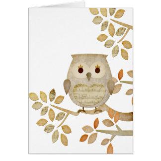 Cartão musical da coruja da árvore