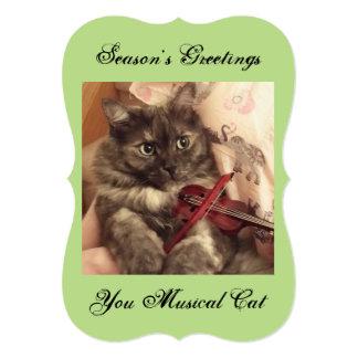 Cartão musical do gato dos cumprimentos da estação convite 12.7 x 17.78cm