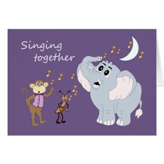 Cartão musical dos animais do elefante, do macaco