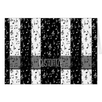 Cartão musical preto & branco das listras