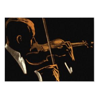Cartão Músico do vintage, violinista que joga a música do