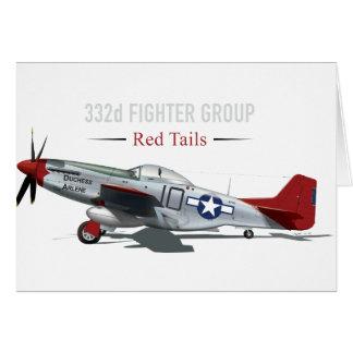 Cartão Mustang vermelho da cauda P-51 dos aviadores de