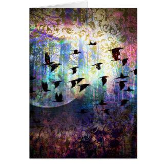 Cartão Mystical da lua da floresta e do corvo