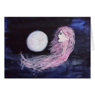 CARTÃO Mystical do azul da lua do cabelo do rosa