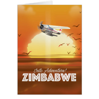 Cartão Na aventura! Poster de viagens de Zimbabwe