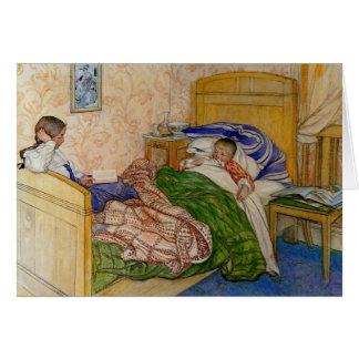 Cartão Na cama 1908 da mãe
