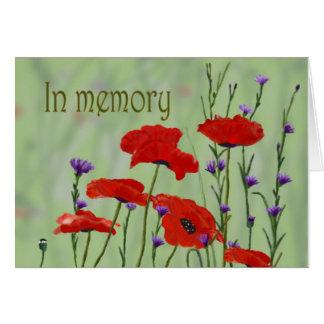 Cartão Na memória as papoilas personalizam-na