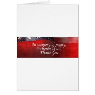 Cartão Na memória de muitos em honra de todo o obrigado