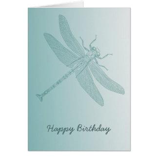 Cartão na moda branco chique da libélula do aqua