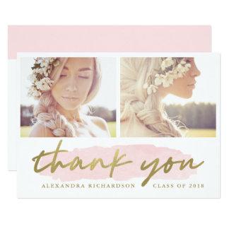 Cartão Na moda cora e o obrigado da foto do ouro dois