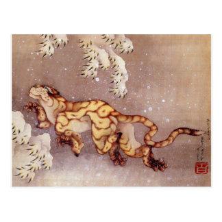 """Cartão na neve de Hokusai """"tigre"""""""