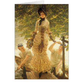Cartão Na Tamisa por James Tissot, realismo do vintage