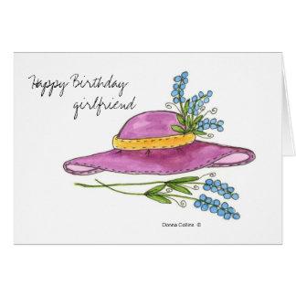 Cartão Namorada do feliz aniversario * chapéu cor-de-rosa