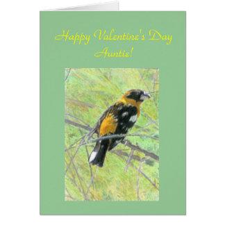 Cartão Namorados coloridos do pássaro para a tia Modelo