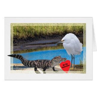 Cartão Namorados com jacaré e Egret