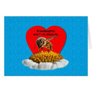 Cartão Namorados da abelha do mel da neta