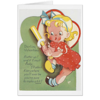 Cartão Namorados da menina da massa do vintage