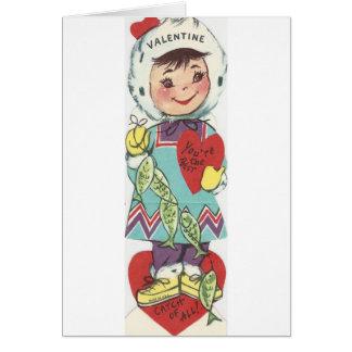 Cartão Namorados da menina da pesca do vintage