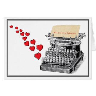 Cartão Namorados dactilografados