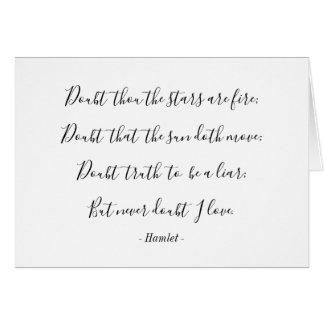Cartão Namorados das citações do amor de Hamlet