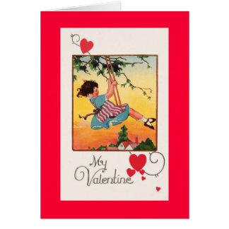 Cartão Namorados de balanço da menina