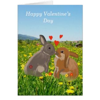Cartão Namorados de beijo bonitos dos coelhos