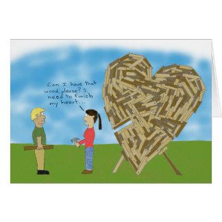 Cartão Namorados de madeira - interior do vazio
