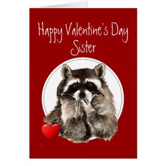Cartão Namorados de sopro da irmã dos beijos do guaxinim