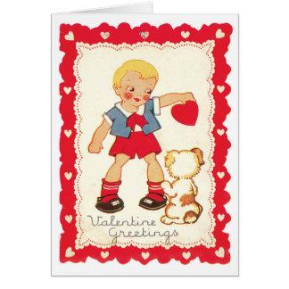 Cartão Namorados de um menino e de seu cão