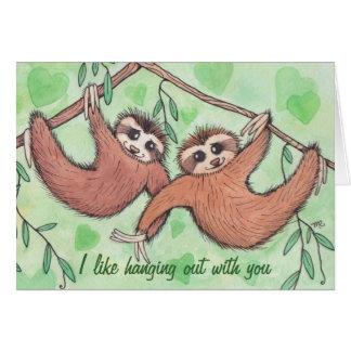 Cartão Namorados do amor da preguiça