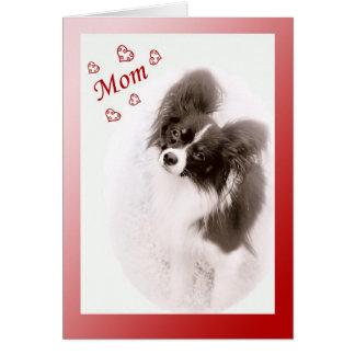 Cartão Namorados do cão de Papillon para a mamã