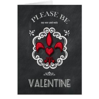 Cartão Namorados do coração da flor de lis do quadro