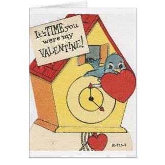 Cartão Namorados do cuco do vintage