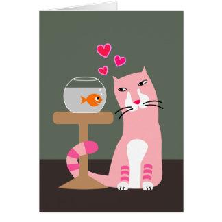 Cartão Namorados do gato & do peixe dourado