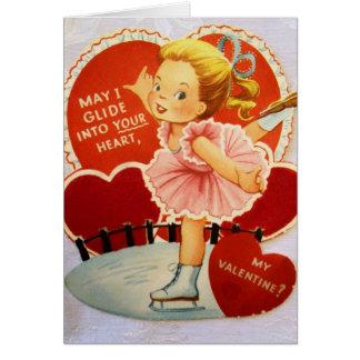 Cartão Namorados do patinador de gelo do vintage