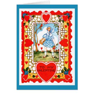 Cartão Namorados do vintage com a menina no azul
