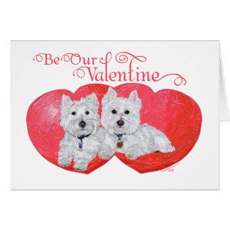 Cartão Namorados dos terrier brancos de montanhas