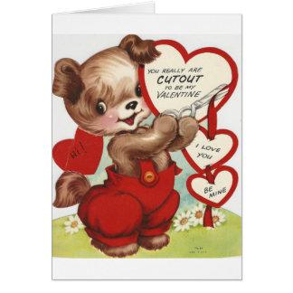 Cartão Namorados espertos do Doggy do vintage