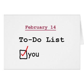Cartão Namorados: Lista de afazeres engraçada