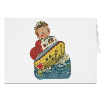 Cartão Namorados (mecânicos) do barco do vintage