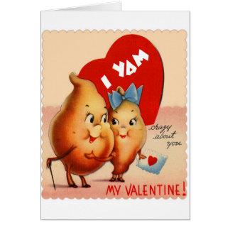 Cartão Namorados retros da batata do kitsch do vintage