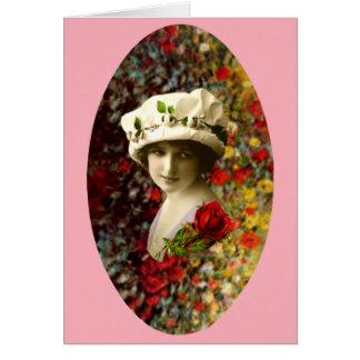 Cartão Namorados retros da colagem do retrato do