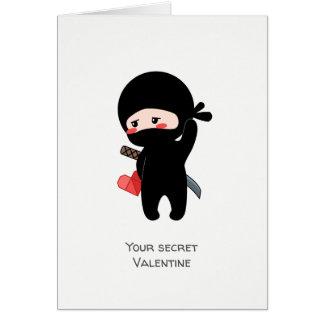 Cartão Namorados secretos Ninja que guardara o coração de