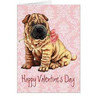 Cartão Namorados Shar-Pei cor-de-rosa