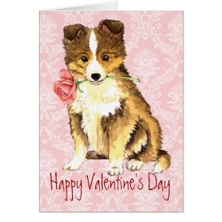 Cartão Namorados Sheltie cor-de-rosa