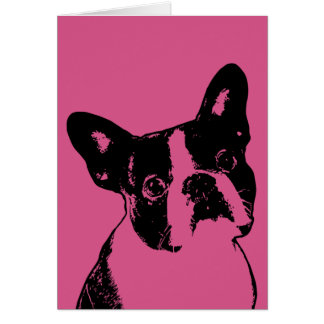 Cartão Namorados - silhueta de Boston Terrier