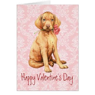 Cartão Namorados Vizsla cor-de-rosa